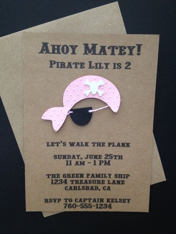 Girl Pink Pirate with Eyepatch Invitations Custom Made and Handmade for Kid's Birthday Party or Baby Shower on Kraft Paper, Set of 8 Invites...