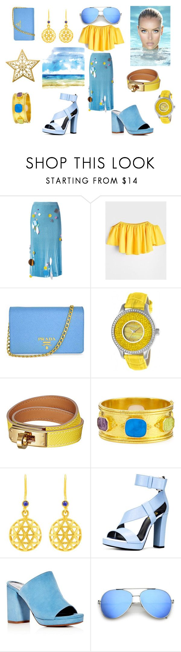 """""""Sand and Ocean"""" by mengovat ❤ liked on Polyvore featuring Christopher Kane, Prada, Invicta, Elizabeth Locke, Auren and Robert Clergerie"""