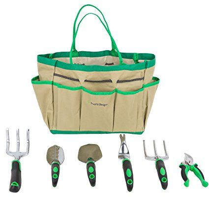 TrueFit Designs 7 Piece Garden Tool Set with Durable Cast Aluminum Heads plus Ergonomic Handles and Sizable Garden Tote Bag