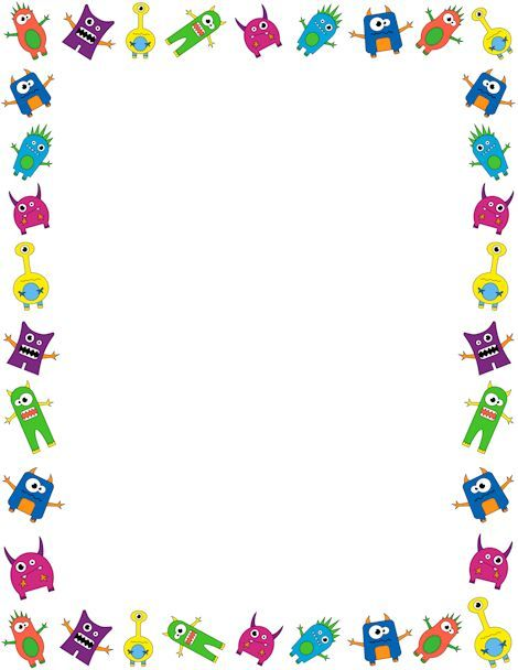 Printable monster border. Free GIF, JPG, PDF, and PNG downloads at http://pageborders.org/download/monster-border/. EPS and AI versions are also available.