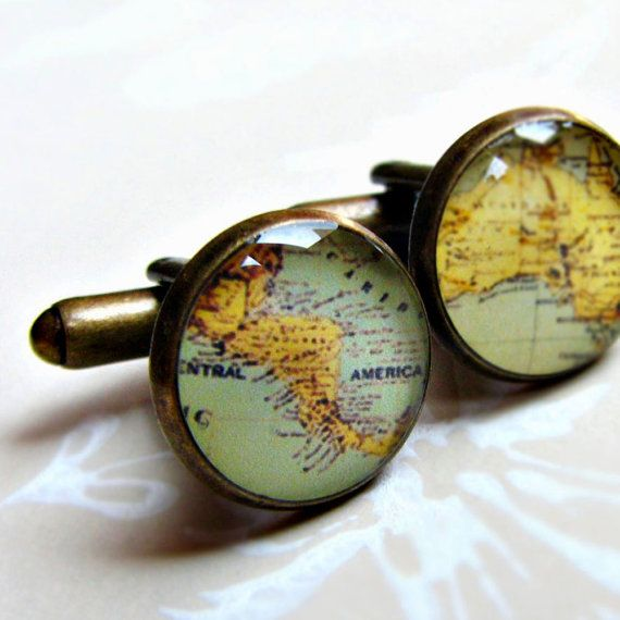 Cuff Links with Custom Map (honeymoon destination for hubby, father's birthplace, brother's school, wedding site for groomsmen etc...)