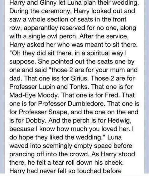 And two for Lily and James. this would've been an awesome scene - Harry Potter's wedding