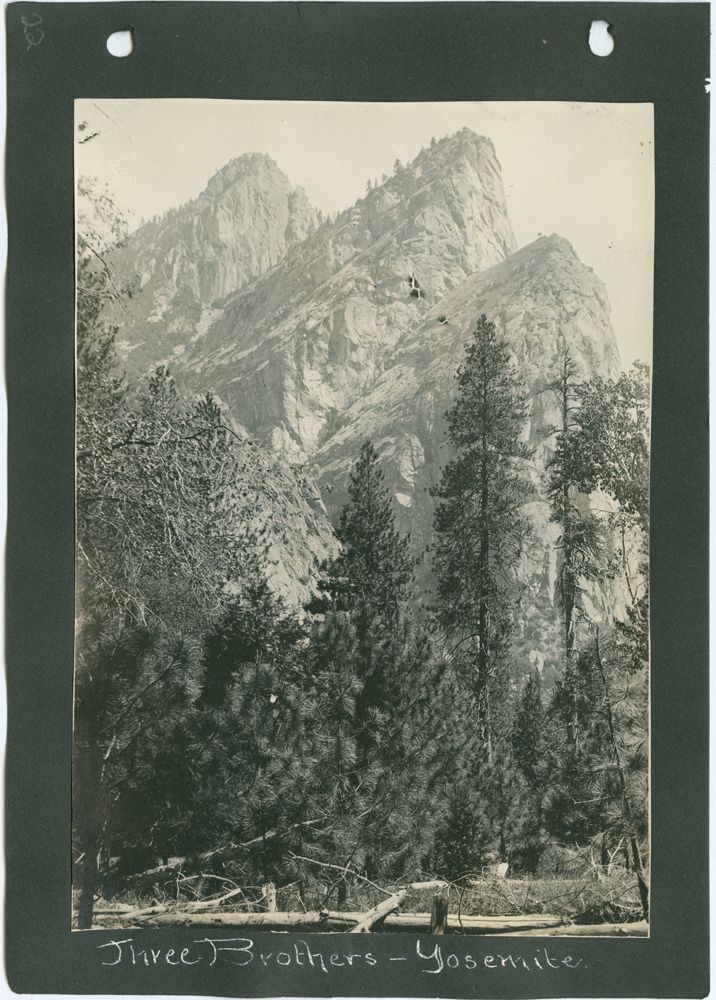 Title: Three Brothers - Yosemite.         Creator: Forbes, A. A., 1862-1921     Date: ca. 1902-1916  Part Of: Arizona and California, Album  Place: Yosemite, California  Physical Description: 1 photographic print: gelatin silver; 16 x 11 cm. on 20 x 14 cm. mount  File: ag1996_1041_22_three_opt.jpg              Rights: Please cite DeGolyer Library, Southern Methodist University when using this file. A high-resolution version of this file may be obtained for a fee. For details see the…