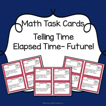 Math Task Cards can be used in so many ways!   This set includes 24 Math Task Cards on Telling Time- Elapsed Time- Future, a student answer sheet, an At-a-Glance Teacher page, and a teacher answer sheet.  This set of task cards is also offered as part of my Telling Time: Math Task Card BUNDLE   Some of the GREAT ways to use these cards:  *in math centers *as a pre-assessment *as a post assessment *as exit tickets *in the game of Scoot *in small instructional groups *as a unit review or test…