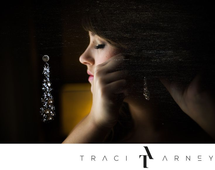 Traci Arney Photography - Earring Detail Shot Double Exposure, Greensboro, NC: Location: The Proximity Hotel, 704 Green Valley Rd, Greensboro, NC 27408. Keywords: Bride (171), Detail (189), Double Exposure (24), Earring (15), Getting Ready (51), Greensboro (159), Modern (3), NC (609), Portrait (90), Proximity Hotel (63).   1/1250, f/2.8, ISO 1000, 50.0 mm.