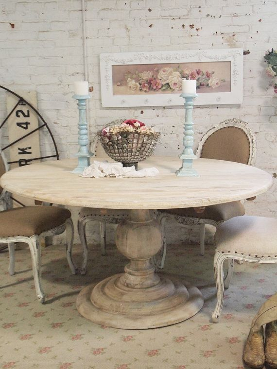 Painted Cottage Chic Shabby French Linen Round Dining Table TBL31 on Etsy, $995.00