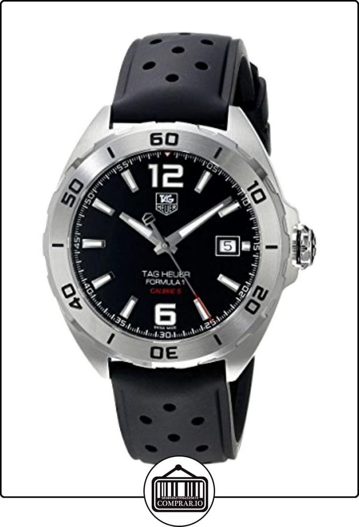TAG Heuer Men 's reloj automático con esfera analógica de color negro de goma WAZ2113. FT8023 de  ✿ Relojes para hombre - (Lujo) ✿