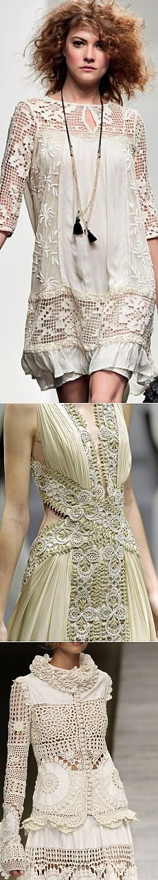 Striking combination of clothes: openwork crochet and fabric