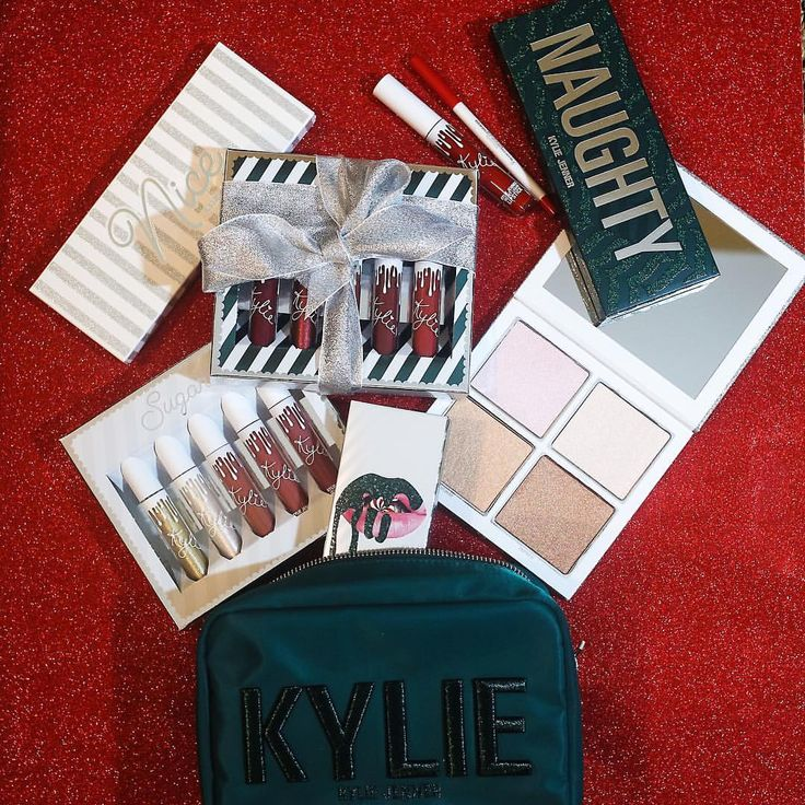 @kyliecosmetics: The 2017 Holiday Collection ❄️  Nov 22, 3pm pst  The Naughty Palette The Nice Palette The Holiday Wet Set Cosmetics Bag Sugar Lip Set Spice Lip Set