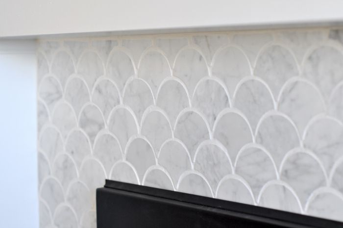 Fireplace Reveal - scallop or fish-scale marble tiles