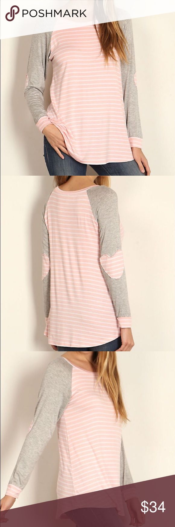 Pink striped elbow patch and grey long sleeve top Pink and grey top Auditions Tops Tees - Long Sleeve
