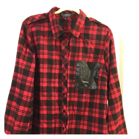Flannel shirt Red and black flannel shirt with vegan leather pocket. Purchased from Bloomingdales. Tops Button Down Shirts