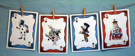 2 Alice in Wonderland Giant (5x7) Cards, front and back for tea party bunting or tablescape: 6.50