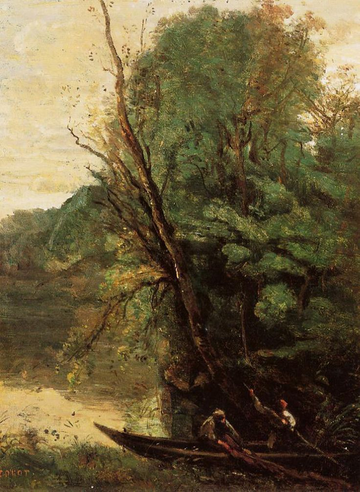 Fishing with Nets, Evening_Jean-Baptiste-Camille Corot_1845-1850