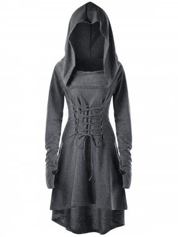Dark Heather Gray M Hooded Lace-up Long Sleeve High Low Dress | RoseGal.com Mobile
