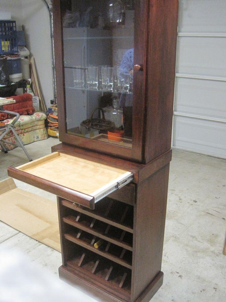Locking Liquor Cabinet Hickory Shot Glass Display Case