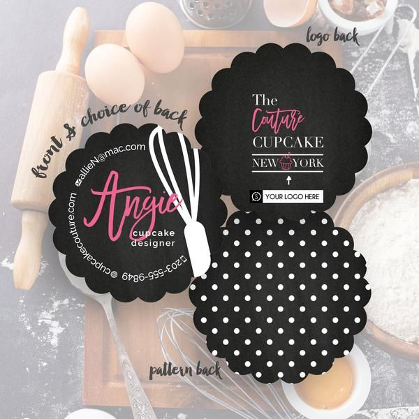Angie's design is sophisticated and bold, featuring script font paired with a chalkboard texture background. This card is perfect for a wide variety of businesses, including cupcake designers, bloggers and designers. Customize this design and make a fashionable first impression
