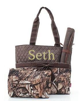 Buy Camo Diaper bag - Camoflauge tote - 3 piece Diaper bag set - personalized baby gift by emagesembroidery. Explore more products on http://emagesembroidery.etsy.com