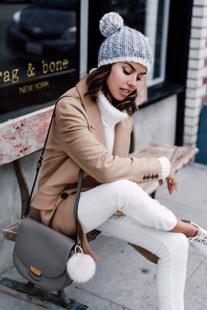 knitted beanies with camel coat