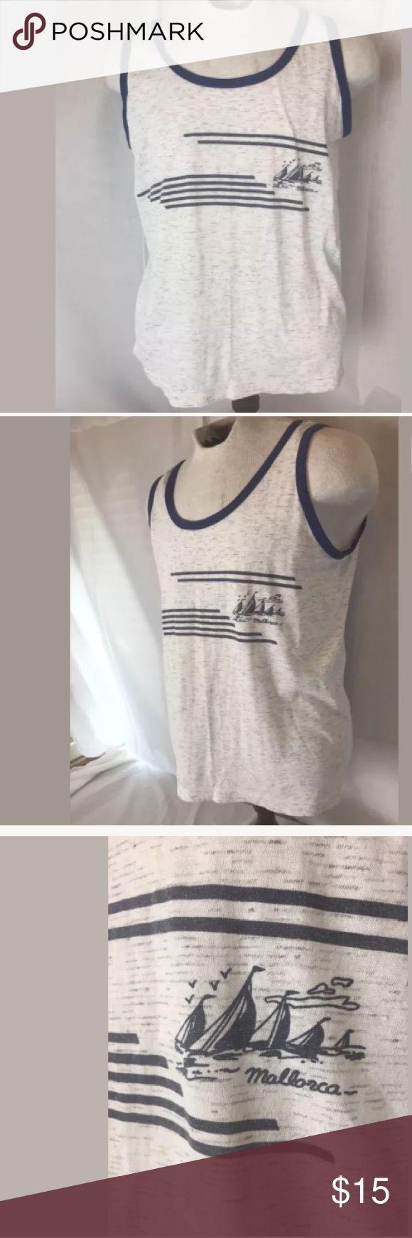 "Vtg 70s Fleck Tank Top shirt Sailboat (chest 42""+) Fantastic Vintage 70s  Mallorca Spain - Sailboats Tank Top  T Shirt   MEASUREMENTS:   Chest (pit to pit): 42""+  Sleeveless  Length: 25"" Vintage Shirts Tees - Short Sleeve"