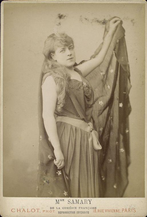 Jeanne Samary (Comédie Française) foto d'epoca in formato carte cabinet dello studio Chalot di Parigi.