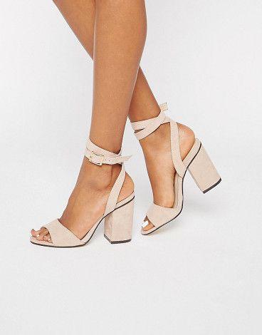 "2 Part Block Heel sandals by London Rebel. Heels by London Rebel, Faux suede upper, Ankle-strap fastening, Almond toe, Block high heel, Wipe clean, 100% Polyurethane Upper, Heel height: 9.5cm/4""."" #londonrebel #nudeshoes"