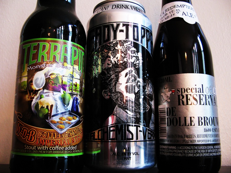 Terrapin Wake 'N' Bake Coffee Oatmeal Imperial Stout, The Alchemist Heady Topper IPA and De Dolle Oerbier Special Reserva (2010) matured in Bordeaux casks.