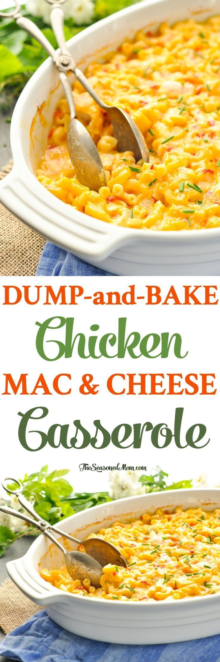 This 10-minute Dump-and-Bake Chicken Mac and Cheese Casserole is a one dish make-ahead dinner recipe that your family will love! Chicken Breast Recipes   Pasta Recipes   Casserole   One Pot Meals #chicken #onepotmeals #pasta #dinner