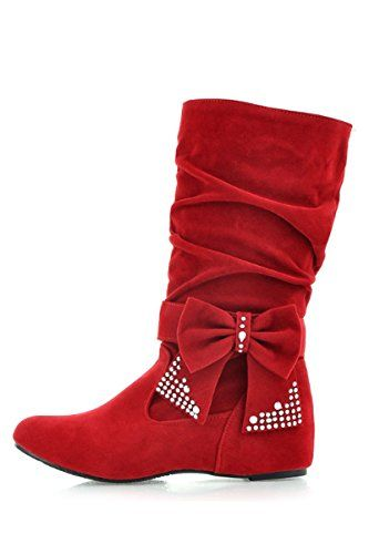 SODIAL (R)Damen mode mittlere hoch flach Schleife Slouch Stiefel rot 35 - http://on-line-kaufen.de/sodial-r/sodial-r-damen-mode-mittlere-hoch-flach-schleife