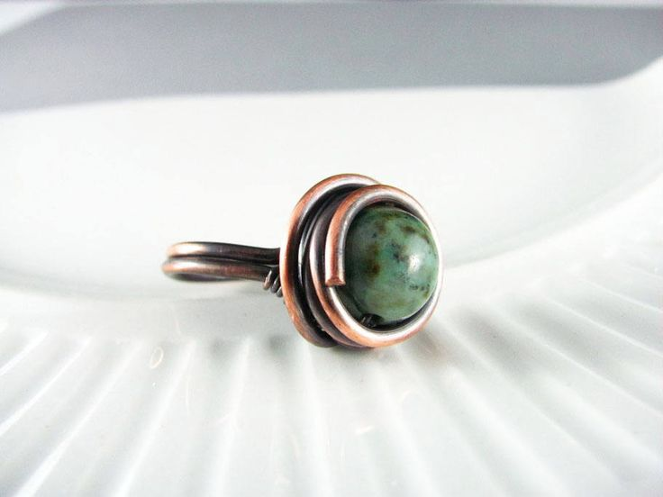 Wire Wrapped Ring Green African Turquoise Ring Copper Jewelry Wire Wrapped Jewelry Copper Ring Copper Wire Wrap Size 7 or 7.5 by PolymerPlayin on Etsy