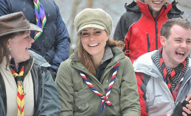 Kate Middleton at the UK Scouting volunteer training on 3/22/13 in Barbour Ladies Lindholm Jacket and previously highlighted Le Chameau Vierzonord wellies.