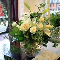 A Winter Flower Bouquet in Cream Green and White