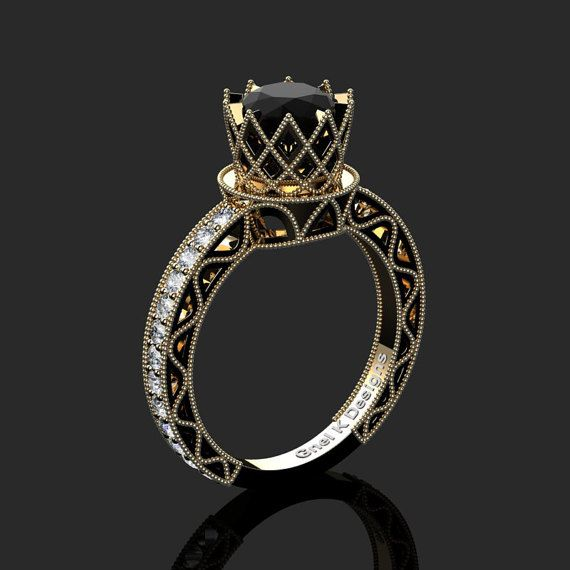 Classic Armenian 14K Yellow Black Gold 1.0 Ct Black by artmasters