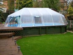 Above Ground Pools Decks Idea | ... pool domes that are available to cover in-ground and above ground