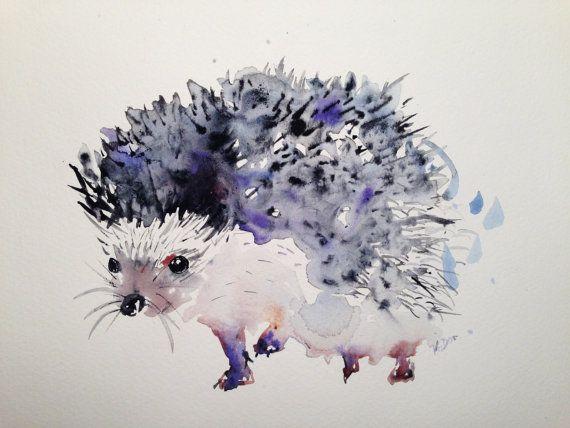 Custom pet portrait - hedgehog,dog,cat,bird,rabbit,bunny,modern unique watercolor painting original gouache custom art