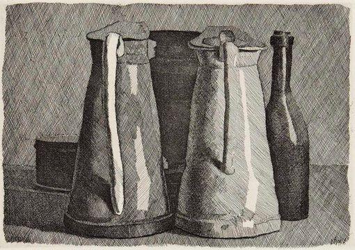 Giorgio Morandi, Nature morte avec cinq objets, 1956, eau-forte avec retouches au burin, Rome