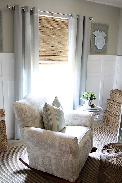 Love this neutral color scheme: Shades from Overstock - Petite Rustique Bamboo Roman; Curtains from Target - Grayson Grommet; Rug - Lowes; Rocker - Sealy; Paint color - Valspar Cliveden Gray Morning, satin (wall) - Valspar Gray Silt, Satin (crib) - Ceiling - Valspar Woodrow Wilson Blush, Flat