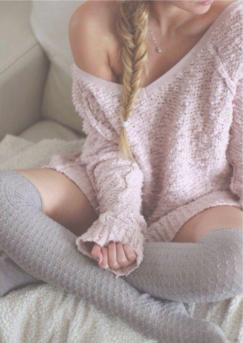 pink off shoulder jumper, grey knee high socks                                                                                                                                                                                 More