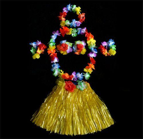 Цветок гавайский цветок лэй луо-х ну вечеринку хула ожерелье браслет повязка на голову бюстгальтер гирлянды юбки цветок свадебный декор цветочный декор