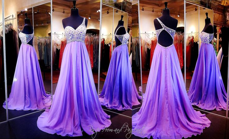 Lilac One Shoulder Beaded Prom Dress Lilac ombre beads and crystals adorn the one shoulder bodice of this gorgeous prom dress. Larger crystals trim the waist and back while the A-line chiffon skirt fabulously falls into a floor length hem.