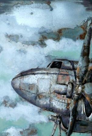 Trendykunst presenteert dit prachtige schilderij van een een vliegtuig. Metalen 3D schilderij met warme kleuren. Schilderij helemaal gemaakt van metaal.