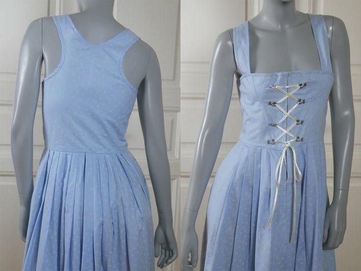 German Vintage Dirndl Dress, Light Blue Floral Cotton Bavarian Trachten Dress, Octoberfest Outfit: Size 6 US, Size 10 UK by YouLookAmazing on Etsy