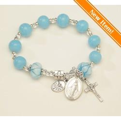 New! Gorgeous pandora-style Miraculous Medal Turquoise Rosary Bracelet. Hand-made, hand-painted glass beads, $36.95. #CatholicCompany
