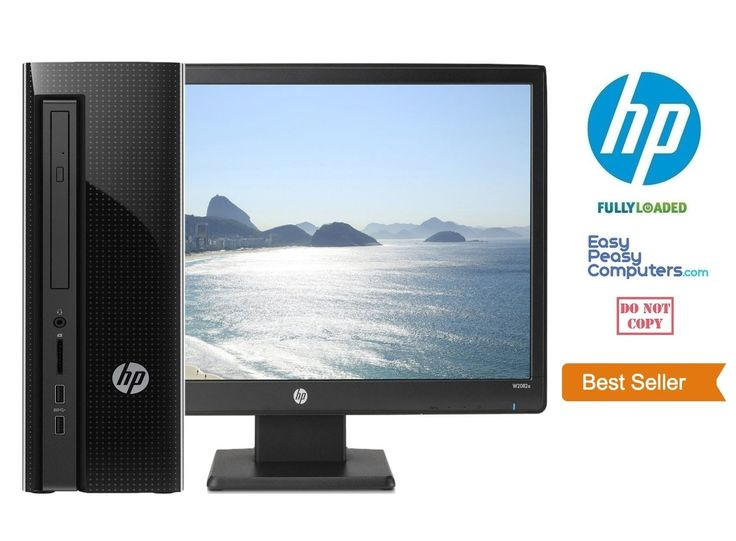 "Cheap Computers - New HP Desktop Computer 20"" Monitor Windows 10 DVD WiFi 500GB 4GB (FULLY LOADED) - EasyPeasyComputers"
