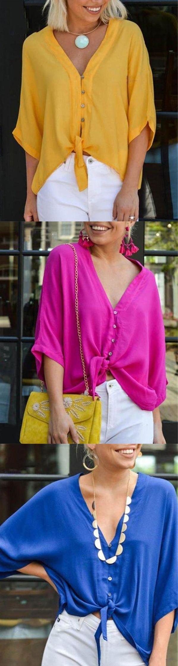 $25.99 SALE! SHOP NOW>>>Plus Size V Neck Lace-Up Blouse