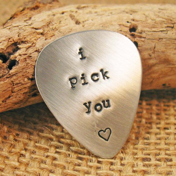 getting this for my handsome man!!<3 Custom guitar pick Valentines Day gift man by Whimsicalheartstring