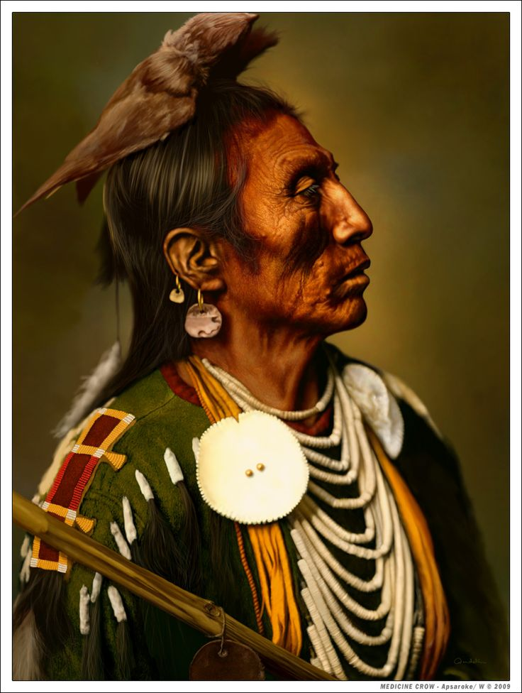 MEDICINE CROW - Apsaroke by wendelin.deviantart.com on @deviantART | drawing after a photo taken by Ed Curtis in 1908.