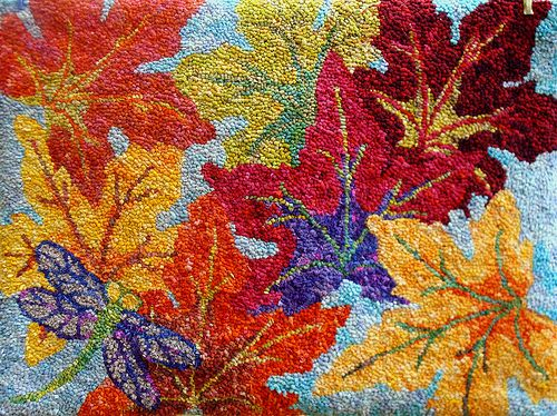"""Love these fall colors hand hooked rug"" ........ this would look so good as a hand-embroidered piece as well !  .......... for inspiration"