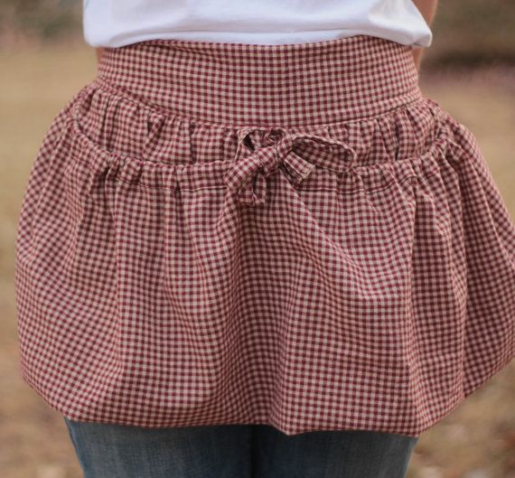 Drawstring Gathering Basket Half Apron for by DearSweetHomeGoods