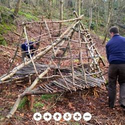 how to build an outdoor shelter of tree branches